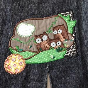 Owl Family Appliqué Denim Skirt
